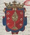 Escudo da Galiza em Títulos de los Reyes de España de Valonga y Gatuellas (c. 1660-1665).jpg