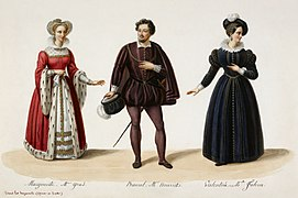 Eugène Du Faget - Costume designs for Les Huguenots - 2. Julie Dorus-Gras as Marguerite, Adolphe Nourrit as Raoul, and Cornélie Falcon as Valentine.jpg