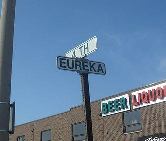 Eureka Road - Street sign for Eureka Road in Wyandotte