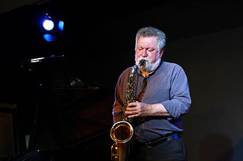 English: Evan Parker with Alexander von Schlip...