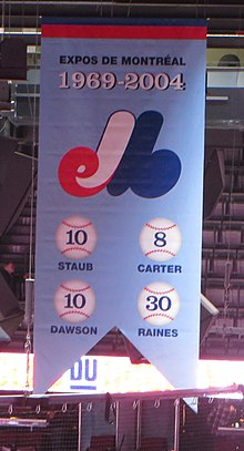 A banner hanging at Montreal's main hockey arena celebrating the Expos and the four retired numbers.