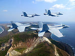 FA-18E Super Hornets of VFA-27 over Iwo Jima in March 2015.JPG