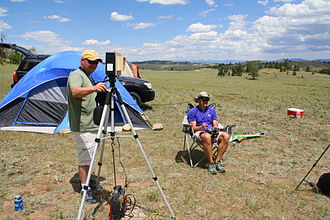 First-person view (radio control) - A FPV pilot flies his aircraft using video goggles while a spotter aims a directional antenna at the plane.