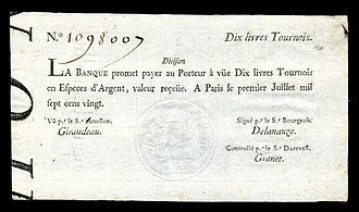 French livre - 10 livres tournois note issued by La Banque Royale (1720)