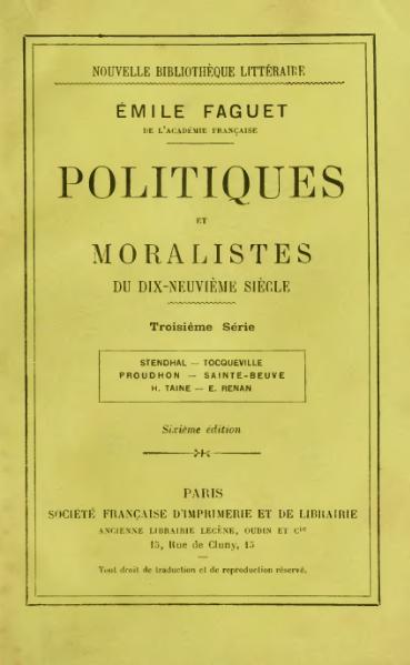 File:Faguet - Politiques et moralistes du XIXe siècle, 3e série, 1903.djvu