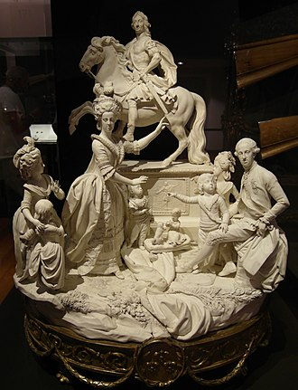 Capodimonte porcelain - Naples biscuit porcelain group of the Bourbons: King Charles at rear, Ferdinand seated, with his wife and some of their 18 children. Filippo Tagliolini, c. 1784
