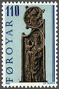Faroe stamp 049 pew end from kirkjubour - maria and baby jesus.jpg