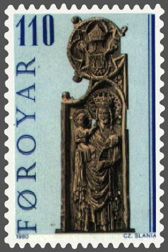 Kirkjubøur - Image: Faroe stamp 049 pew end from kirkjubour maria and baby jesus