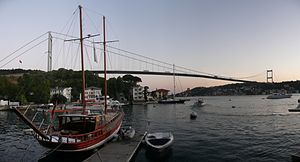 Fatih Sultan Mehmet Bridge - Panoramic view at dusk from the Asian side