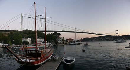 The Fatih Sultan Mehmet Bridge is one of three suspension bridges on the Bosphorus strait. Fatih Sultan Mehmet Bridge panorama.jpg