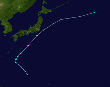 Tracking map of tropical storm