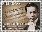 Felipe Padilla de Leon 2012 stamp of the Philippines.jpg