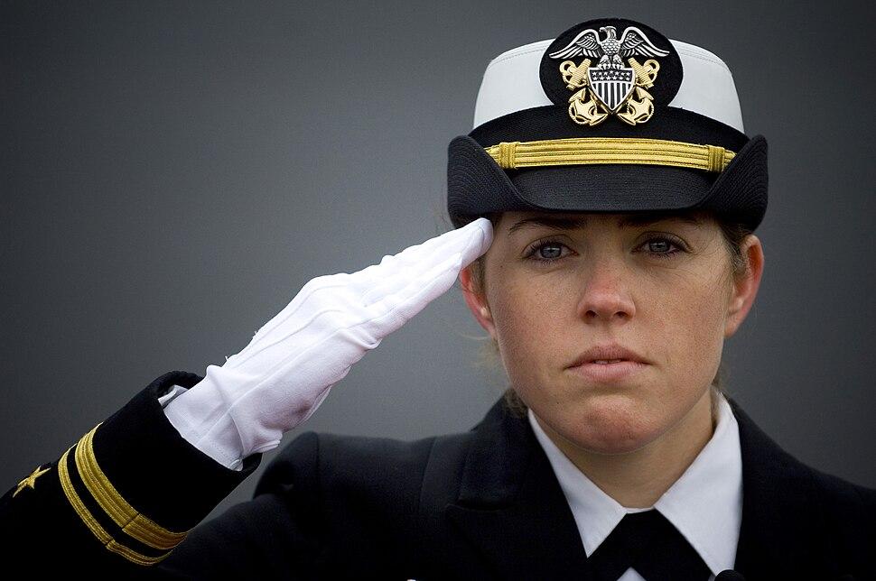 Female officer saluting