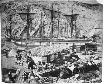 Balaklava - Balaklava harbor, 1855, photographed by Roger Fenton