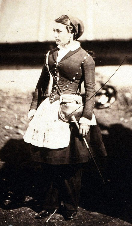 A French cantinière in the Crimea during the Crimean War in 1855, photographed by Roger Fenton. Fenton - vivandiere.jpg
