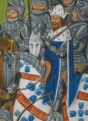 Ferdinand I of Portugal - Miniature of Ferdinand I during the Fernandine Wars, in Jean de Wavrin's Chronique d'Angleterre