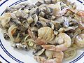 Fettuccine with mushroom-cream and shrimp sauce.jpg