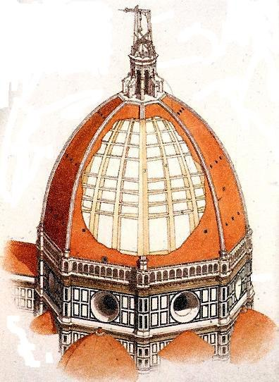 Filippo Brunelleschi, cutaway of the Dome of Florence Cathedral (Santa Maria del Fiore)