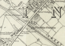 A map shows a station with a few buildings nearby, but surrounded mostly by fields