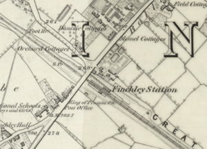 Finchley Central tube station - Image: Finchley Central station on Ordnance Survey map, 1873