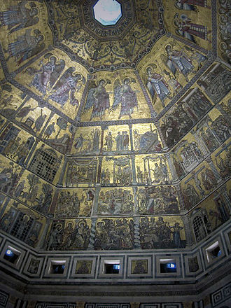 Florentine painting - Mosaic ceiling of the Baptistery of St John in Florence, dating from around 1225.