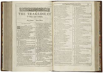 Troilus and Cressida - The first page of Troilus and Cressida, printed in the First Folio of 1623