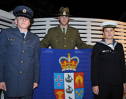 Military personnel holding the Governor-General's flag. This flag was first flown on 5 June 2008. Flag of the Governor-General of New Zealand, 2008.jpg