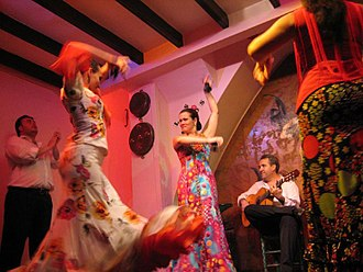 Music of Spain - Flamenco dancing in Seville.