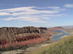 Flaming Gorge National Recreation Area - Flaming Gorge Reservoir with namesake red sandstone cliffs.