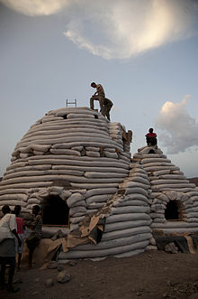 Eco Dome Sandbag Shelter Under Construction In Djibouti May 2012