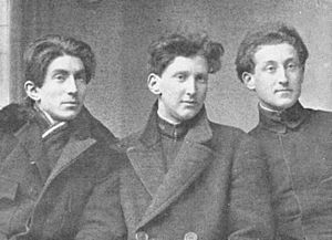 Benjamin Fondane - Fondane (left) and F. Brunea-Fox, flanking Iosif Ross. 1915 photograph
