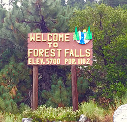 Forest Falls welcome sign