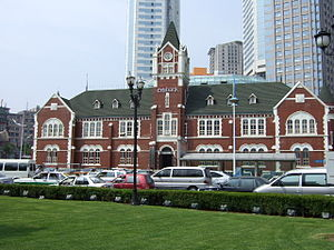 Modern Buildings on Zhongshan Square in Dalian - Citibank's Dalian Branch used to be Dalian Police Station, built in 1908.