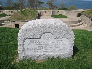 Harbor Defenses of Boston - Bicentennial memorial to the first Fort Independence, 6-inch disappearing emplacements at Fort Revere in background.