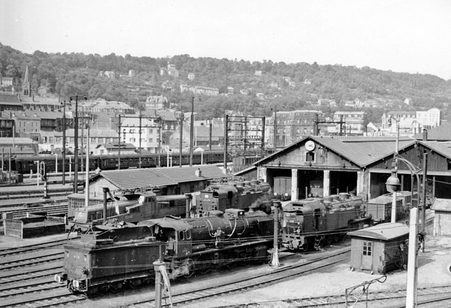 Longwy (Meurthe-et-Moselle): SNCF Nord locomotives at the Depot, 1958.