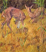 Deer in the reeds, by Franz Marc