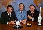 Fred Haise (left), Jack Swigert, and Jim Lovell pose on the day before launch.jpg