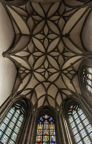 Rib vault in the choir of the parish church Freistadt, Upper Austria