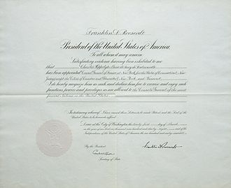 Exequatur - An exequatur signed by USA President Franklin D. Roosevelt for French Consul Charles de Ferry de Fontnouvelle in 1938