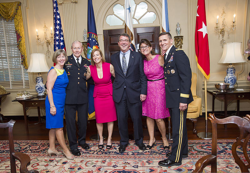 From left, Deanie Dempsey; Chairman of the Joint Chiefs of Staff U.S. Army Gen. Martin E. Dempsey; Stephanie Carter; Deputy Secretary of Defense Ash Carter; Lori Flynn; and Army Gen. Michael T. Flynn 130611-D-HU462-039.jpg