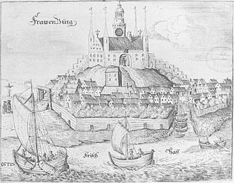 Frombork - Frawenburg at the Frisch Haff in 1684  Altes und neues Preussen, Christoph Hartknoch