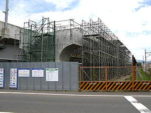 Hokuriku Shinkansen - Construction of the Hokuriku Shinkansen near Fukui Station in August 2007