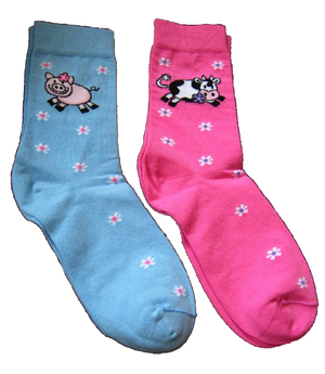 blue and pink sockies