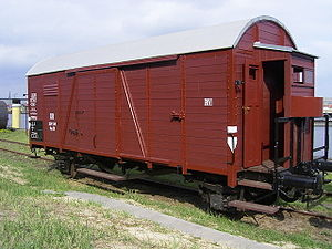 "Wilhelm Cornides - A Reichsbahn ""goods wagon"", one of the types used for deportations."