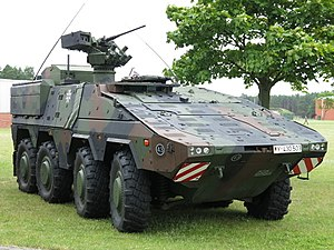 Armoured personnel carrier - The GTK Boxer of the German Army is an example of a modern APC and is equipped with a remote weapon station
