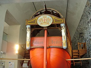 Genoese navy - Stern of a 17th century Genoese war-galley emblazoned with the white and red cross of Genoa.