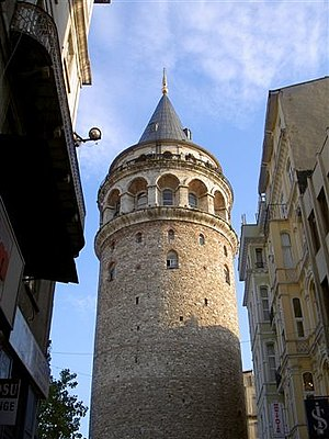 Galata Tower - View of the Galata Tower from a nearby street in the historic Galata (Karaköy) quarter within the Beyoğlu (Pera) district of Istanbul