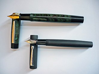 Ebonite - Green/black rippled ebonite fountain pen made in 2014 and black ebonite fountain pen made in 2017
