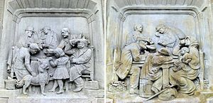 Travel class - Travel class illustrations at the beginning of the 20th century. Representations of the station restaurants of the first and second classes (left) and third class (right). Reliefs of the Imperial train station of Metz, France.