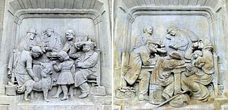 Travel class - Travel class illustrations at the beginning of the 20th century. Representations of the station restaurants of the first and second classes (left) and third class (right). Reliefs of the Iml train station of Metz, France.